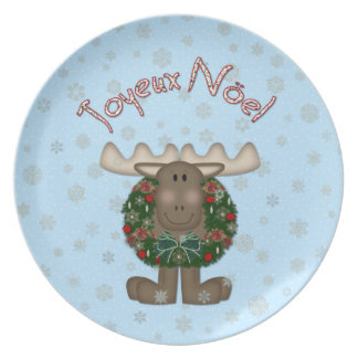Merry ChristMoose Joyeux Noel Christmas Plate