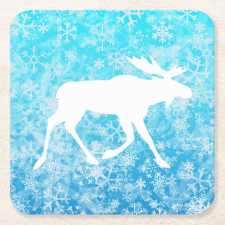 Merry Christmoose Square Paper Coaster