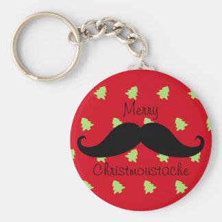 Merry Christmoustache Basic Round Button Keychain