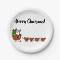 Merry Cluckmas! Santa Claus And Chickens Plates