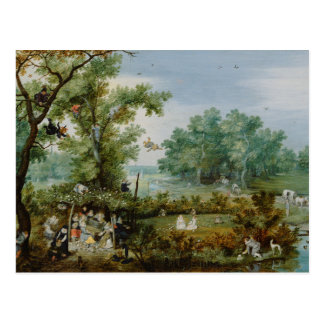 Merry Company in an Arbor Painting Postcard