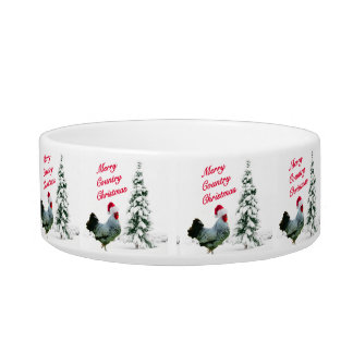 Merry Country Christmas Chicken With Santa Hat Bowl