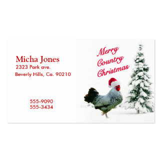 Merry Country Christmas Chicken With Santa Hat Business Card