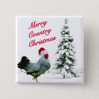 Merry Country Christmas Chicken With Santa Hat Button