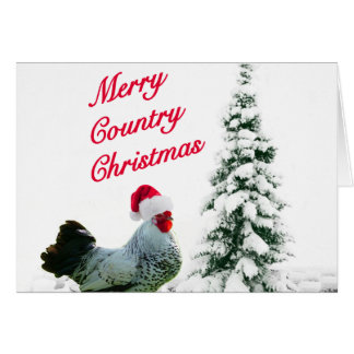 Merry Country Christmas Chicken With Santa Hat Greeting Card