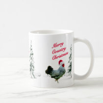 Merry Country Christmas Chicken With Santa Hat Coffee Mug