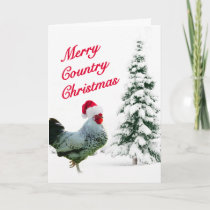 Merry Country Christmas Chicken With Santa Hat Holiday Card