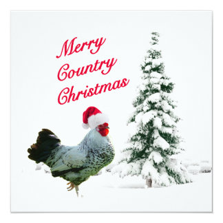 Merry Country Christmas Chicken With Santa Hat Invitation