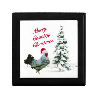 Merry Country Christmas Chicken With Santa Hat Jewelry Box