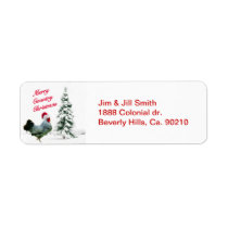 Merry Country Christmas Chicken With Santa Hat Label