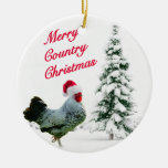 Merry Country Christmas Chicken With Santa Hat Christmas Tree Ornaments