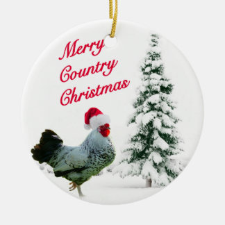 Merry Country Christmas Chicken With Santa Hat Double-Sided Ceramic Round Christmas Ornament
