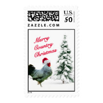 Merry Country Christmas Chicken With Santa Hat Postage