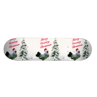 Merry Country Christmas Chicken With Santa Hat Skateboard Deck