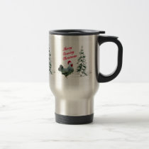 Merry Country Christmas Chicken With Santa Hat Travel Mug