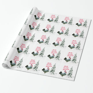 Merry Country Christmas Chicken With Santa Hat Wrapping Paper