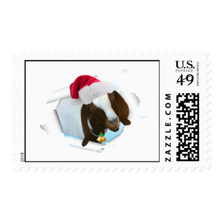 Merry Country Christmas Goat With Santa Hat & Bell Postage Stamp