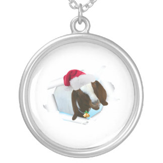 Merry Country Christmas Goat With Santa Hat & Bell Silver Plated Necklace