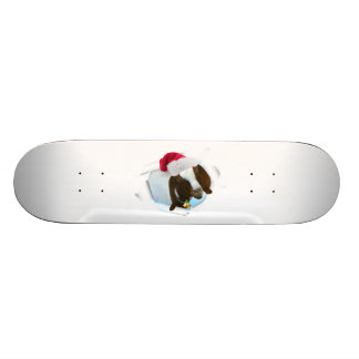 Merry Country Christmas Goat With Santa Hat & Bell Skate Board Deck