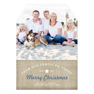 Merry Country Christmas Rustic Burlap Photo Card