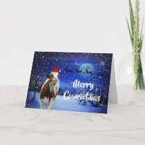 Merry Cowristmas Santa Cow Holiday Card