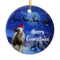 Merry Cowristmas Santa Cow Holiday Ceramic Ornament
