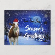 Merry Cowristmas Santa Cow Holiday Postcard