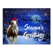 Merry Cowristmas Santa Cow Holiday Postcard