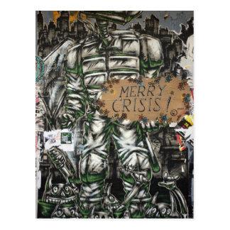 Merry Crisis Graffiti Postcard