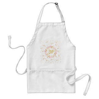 Merry Cristmas Wreath in Gold and Red Adult Apron