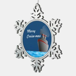 Merry Cruise-mas Snowflake Pewter Christmas Ornament