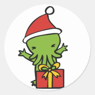 Merry Cthulmas Classic Round Sticker