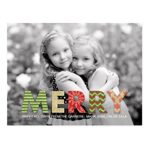 Merry Cutouts Holiday Photo Card Postcard