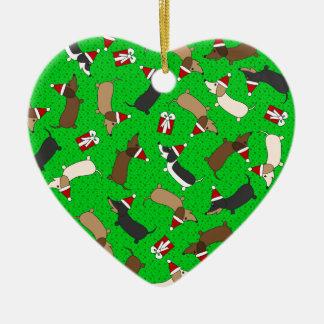 Merry Dachshunds Ceramic Ornament