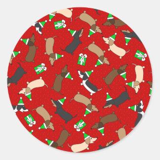 Merry Dachshunds Classic Round Sticker