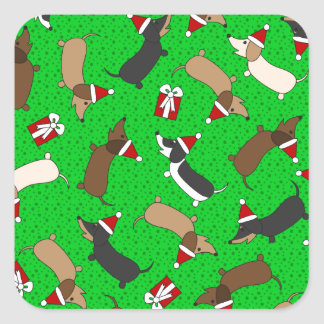 Merry Dachshunds Square Sticker