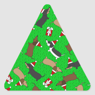 Merry Dachshunds Triangle Sticker