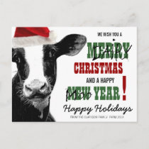 Merry Dairy Christmas Holiday Postcard