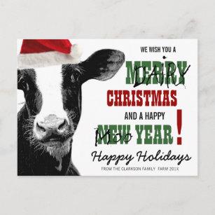 Merry Christmas Puns.Merry Dairy Christmas Holiday Postcard