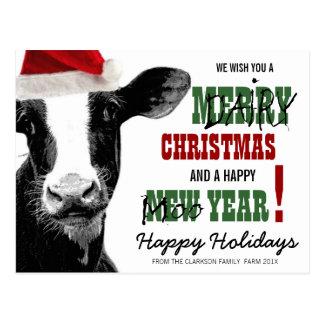 Merry Dairy Christmas Postcard