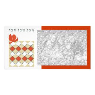 Merry diamond pattern pkg Photo Card customize