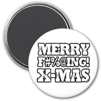 MERRY EFFING XMAS -.png 3 Inch Round Magnet