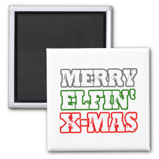 MERRY ELFIN XMAS -.png 2 Inch Square Magnet