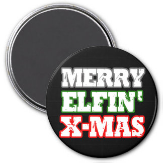 MERRY ELFIN XMAS -.png 3 Inch Round Magnet