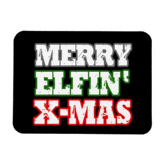 MERRY ELFIN XMAS -.png Rectangular Photo Magnet