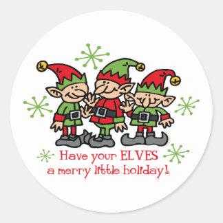 Merry Elves Classic Round Sticker