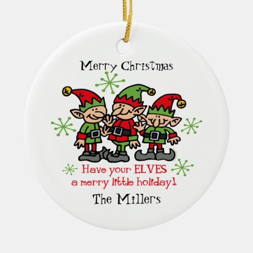 Merry Elves Personalized Ornament