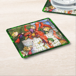 Merry Elves Wrapping Gift Pulp Board Sq Coasters Square Paper Coaster