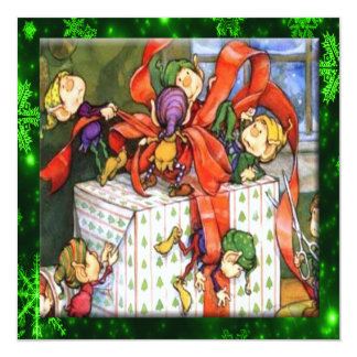 Merry Elves Wrapping Present Flat Card