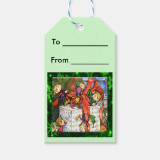 Merry Elves Wrapping Present Gift Tags